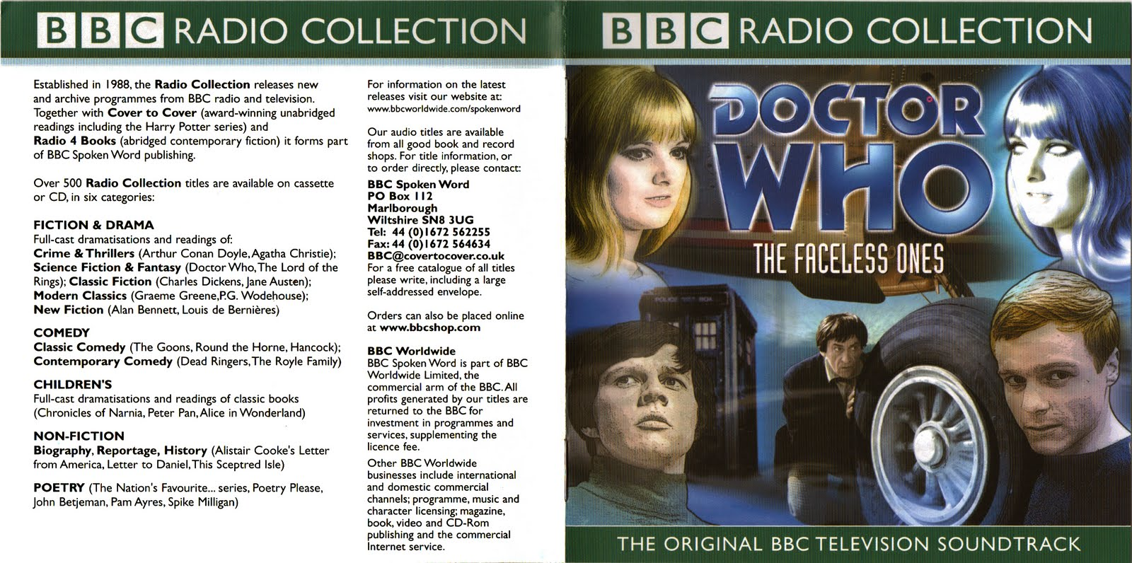 Doctor Who Bbc Radio Collection The Faceless Ones Cd Cover